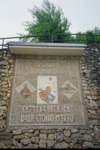 Mosaic mural in the backyard of franciscan monastery in Kraljeva Sutjeska, Bosnia