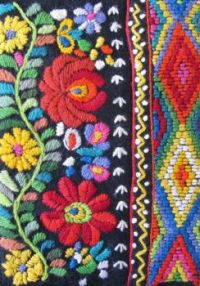 Bright colors of folk embroidery