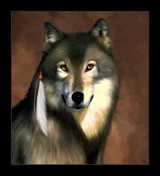 Wolf with Feather