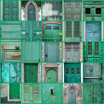 Symphony of Green Doors by franceseattle on flickr
