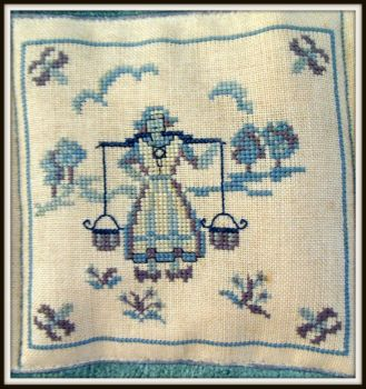 Thread count embroidery - Delft tiles 3 of 4