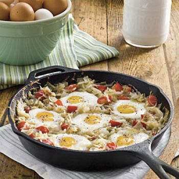 What's for breakfast?  Ham. eggs and hash browns all in a skillet together!