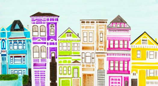 colorful victorian houses