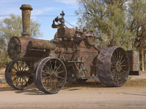 Old steam farm tractor