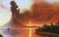 A Depiction of the Mount Tambora eruption of 1815