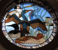 Stained Glass Window of Birds in Maine
