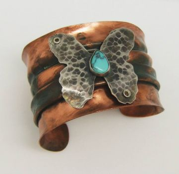 Copper & Sterling butterfly cuff