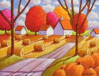 Hay Rolls and Pumpkins by Cathy Horvath Buchanan
