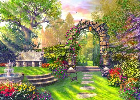 Houses Garden Gates Flowers Gardens Attractions Dreams Trees Architecture Beautiful Fountains Love Seasons Full Hd
