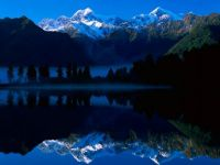 Lake Matheson Reflects Mount Tasman and Mount Cook, New Zealand
