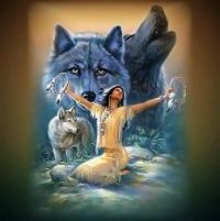 Indian Maiden and her friend, the Wolf...