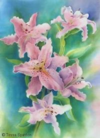 Pink lilies silk painting