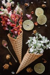 Fresh flowers in waffle cones