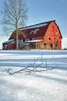 Red Barn In Fresh Snow