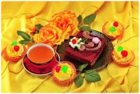 Tea with Cakes, Tarts and Flowers