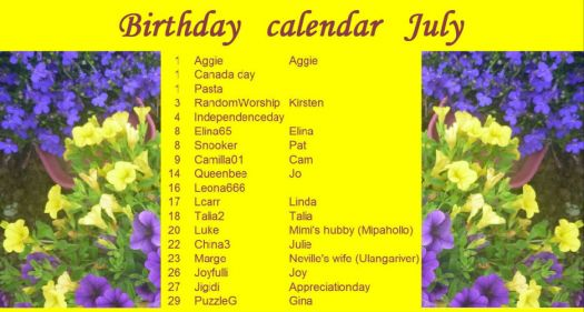 Birthday calendar July.