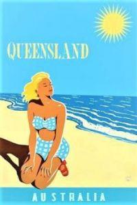Themes Vintage Travel Poster - Queensland Australia
