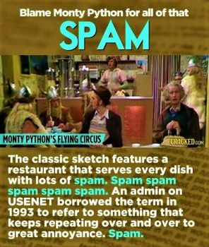 12 Words Created In Movies And TV Shows - SPAM the food became Spam the Junk Mail