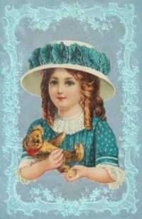 Themes Vintage illustrations/pictures - Girl with her Teddy