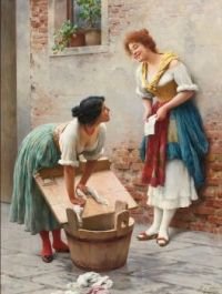 "Eugene de Blaas, ""Sharing the News"""