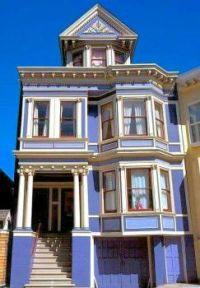Purple Victorian semi-detached Terrace House