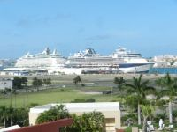 view of cruise ships from hotel window before departure, 2015 trip