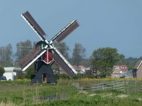 A small mill near Noordwijkerhout. Still used to pump the water from the ditches (low meadows) into the 'boezem', the water behind the dikes.