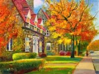 Fall Painting in a Little Town
