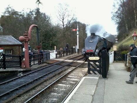 Sir Nigel Gresley entering Goathland Station