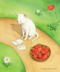 Cute Cat reading letter