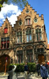 Beautiful laced facade, Bruges Belgium. Taken May 2016