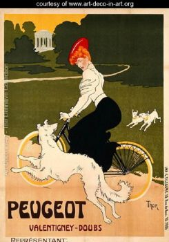 Vintage Poster Advertising  ~  Peugeot-bicycles