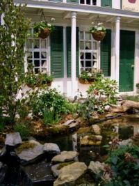 House with Green Door and Pond