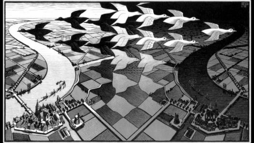 M.C. Escher - Day and Night, woodcut, 1938
