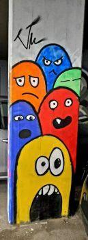 Graffiti su colonna, Barcaccia, Forlì, Italy
