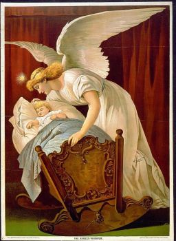 Angel and babe in cradle