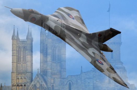 Vulcan over Lincoln Cathederal UK