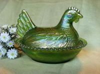Indiana Green Carnival Glass Hen on Nest