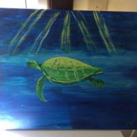 my latest painting * neon turtle