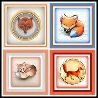 Theme - Forest and Farm Animals - A Quad of Fox Brooches