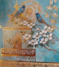 Two beautiful blue birds resting outside of their cage  Artist Samantha Chase Myers
