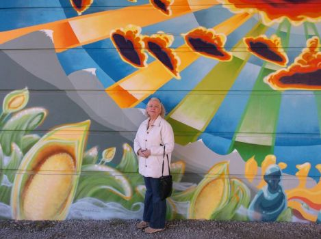 Mural oainted under bridge, Whister, BC