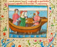 Tristan and Isolde, miniature of the 15th century