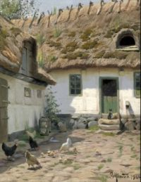 "Peder Mørk Mønsted,  ""Backyard with Cat and Chickens"""