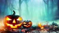 Jack-o-lanterns in the mist