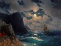 """""""Passing Ship on a Moonlit Night"""" (1868)"""