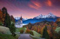 Autumn Church in German Alps