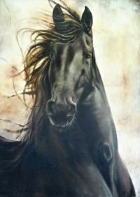 Friesian horse, painting by Rob Langenberg