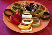Vintage Bakelite Bracelets on Orange Plate