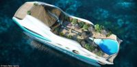 Luxury yacht with tiki huts, volcano, and a pool.